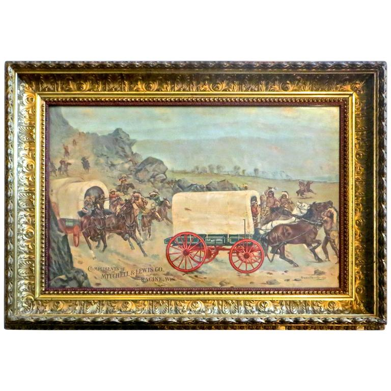 Mitchell & Lewis Covered Wagon Advertising Lithograph, American, circa 1901