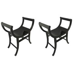 Thonet Pair of Blackened Bentwood Curule Benches
