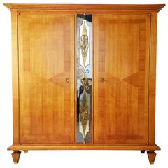 Andre Arbus Attributed French Fruitwood and Verre Eglomise Armoire, circa 1920