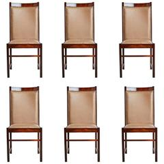 Celina Moevis Brazilian Rosewood Dining Chairs, Set of Six, circa 1960
