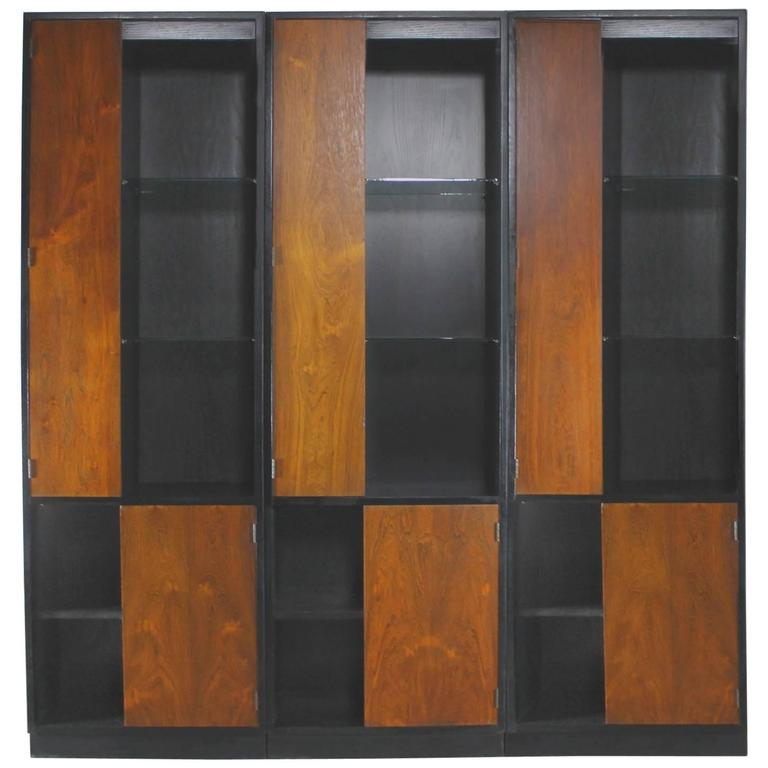 Vintage Harvey Probber Alternating Door Display Cabinets Rosewood & Ebonized Oak