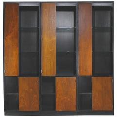 Vintage Harvey Probber Alternating Door Display Cabinets Rosewood & Ebonized Oak