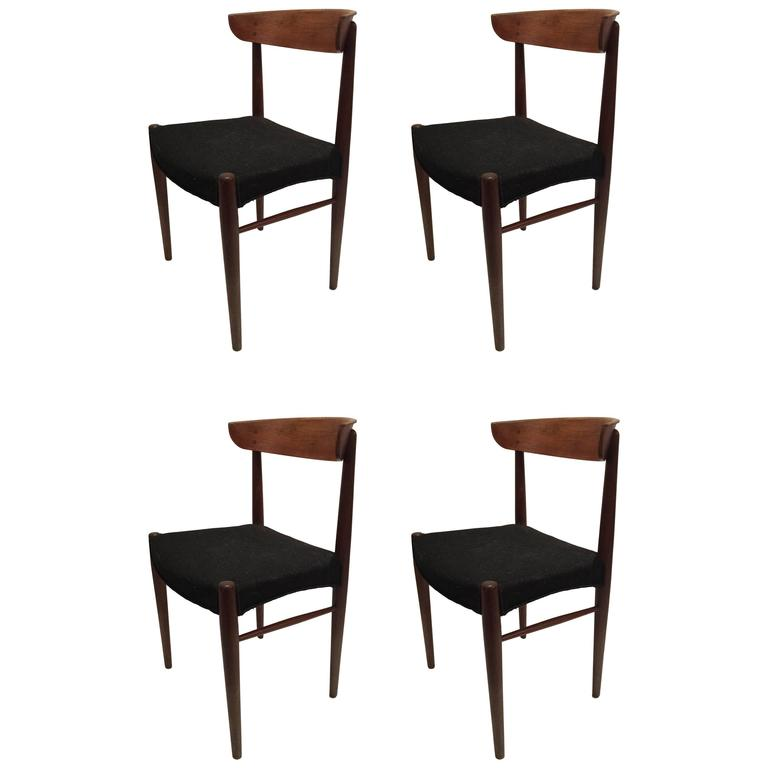 Set of Four Danish Modern Century Teak Dining Chairs