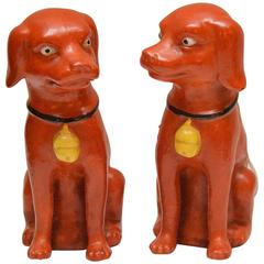 Rare Pair of Famille Verte Chinese Export Seated Dogs