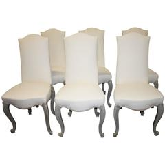 Elegant Set of Six French Dining Chairs