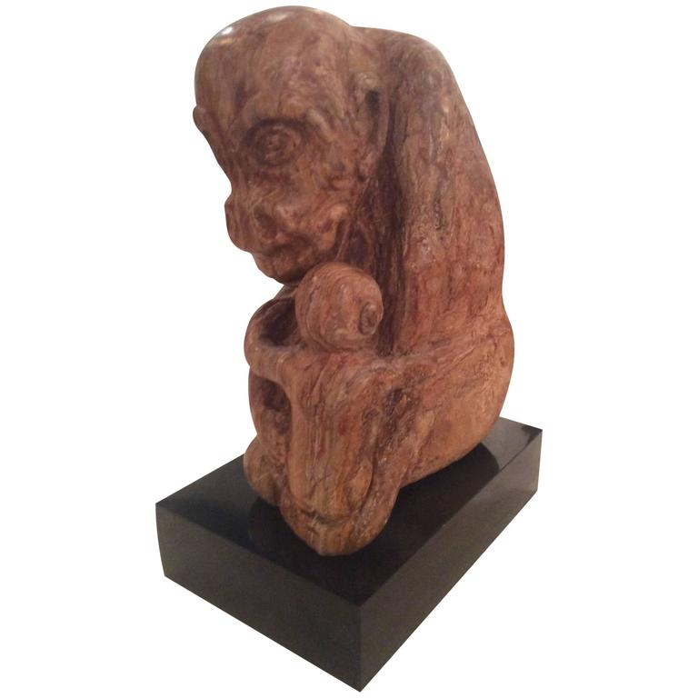Stone Rock Carved Monkey Mother and Baby Gorilla Statue Signed LEW Siegel