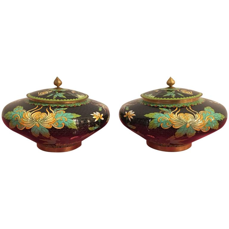 pair of vintage cloisonn lid jars vases urns brass enamel floral flowers metal for sale at 1stdibs. Black Bedroom Furniture Sets. Home Design Ideas