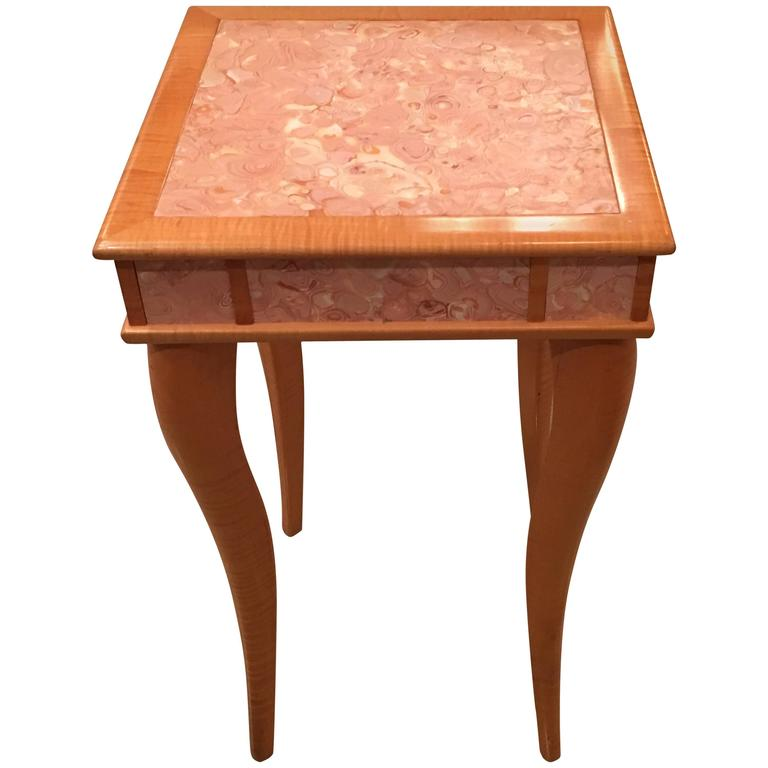 Pink Agate Marble Stone Bird's-Eye Maple Wood End Side Drink Table, Vintage