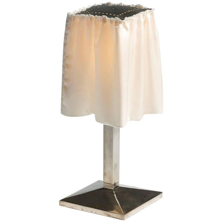 Josef Hoffmann and Wiener Werkstaette, Silk Shade Table Lamp, Re-Edition For Sale