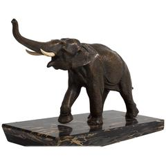 Art Deco Bronze Elephant Sculpture on Marble Mount, 1930s