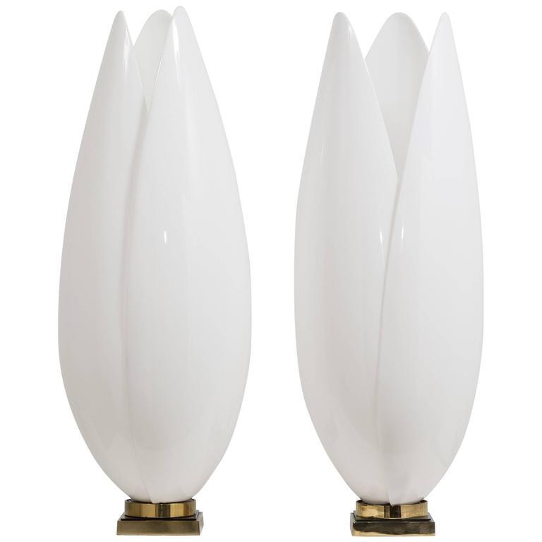 Exceptional Pair of Rougier Designed Acrylic Table Lamps, 1970s
