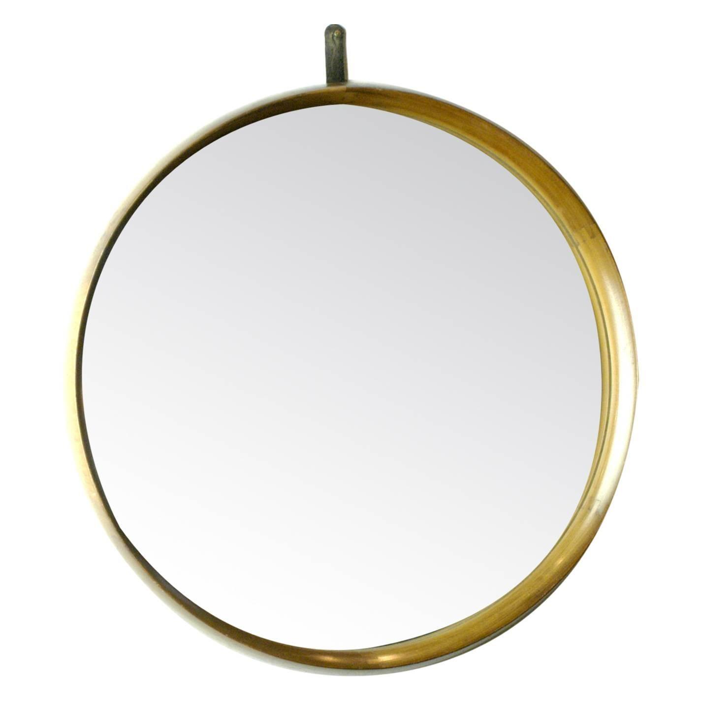 Scandinavian Circular Teak and Leather Wall Mirror