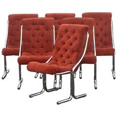 Super Cool Set of Six Daystrom Mid-Century Modern Chrome and Velour Chairs