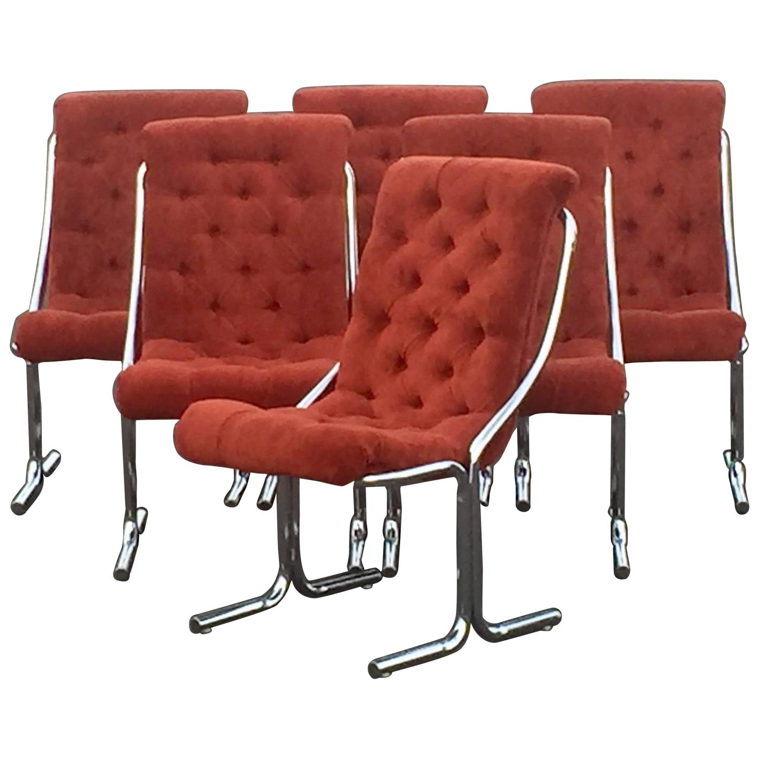 Super Cool Set Of Six Daystrom Mid Century Modern Chrome And Velour Chairs