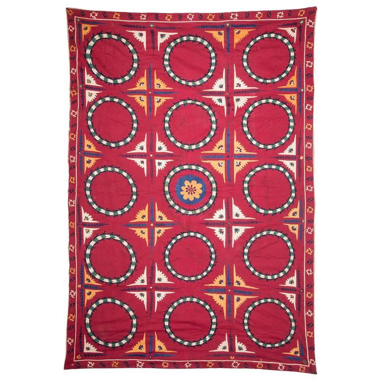 Early 20th Century, Uzbek Tashkent Suzani, Silk Embroidery on Cotton