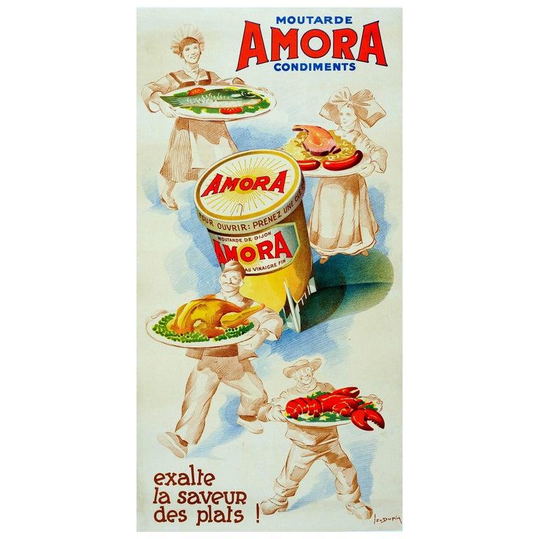 "Rare Original Vintage Food Advertising Poster ""Amora Mustard Brings Out Flavour"""