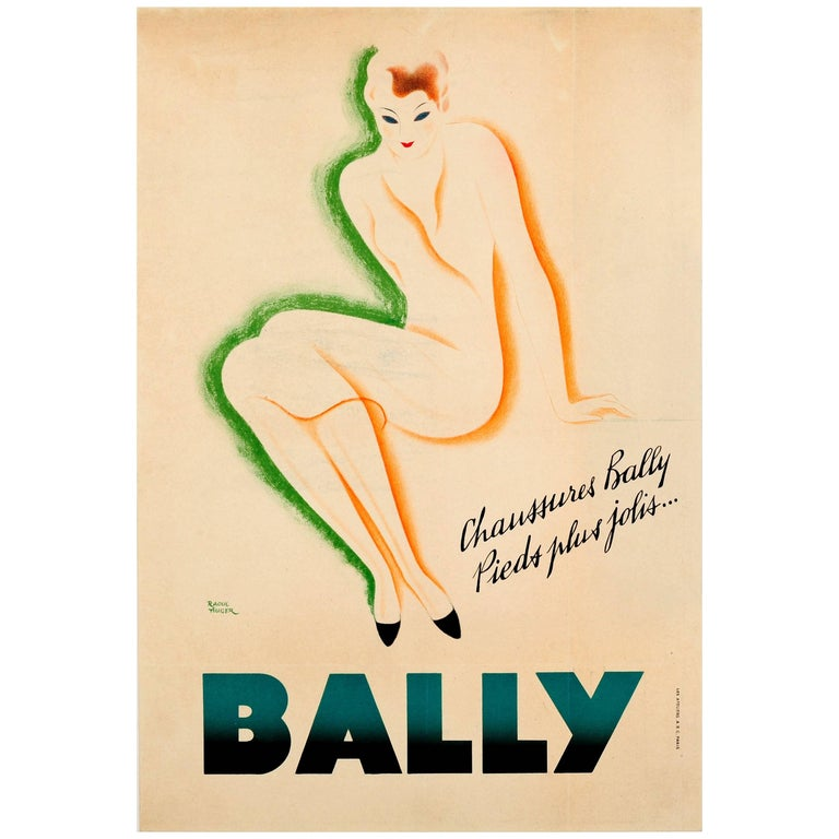 "Original Vintage Bally Shoes Advertising Poster ""Pieds Plus Jolis"" Prettier Feet For Sale"