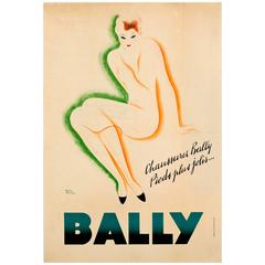 "Original Vintage Bally Shoes Advertising Poster ""Pieds Plus Jolis"" Prettier Feet"