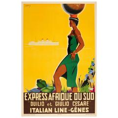 Original Italian Line Cruise Travel Poster for South Africa by Express Steamship