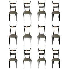 Gio Ponti 'in the Style of' Set of 12 Blackened Wood Chairs, Edition Roset