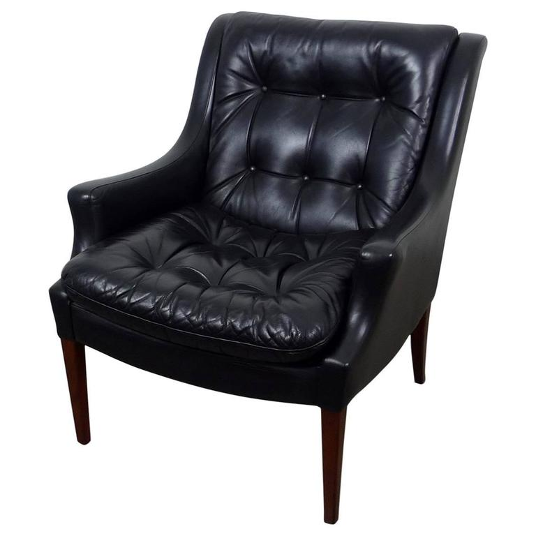 Ordinaire Black Leather Armchair From Walter Knoll, Germany, 1960s For Sale