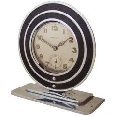American Art Deco Black & Chrome Pocket Watch Holder with Swiss Watch by Provis