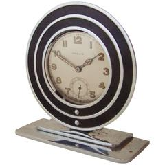 American Art Deco Black & Chrome Pocket Watch Holder with Swiss Watch by Provis