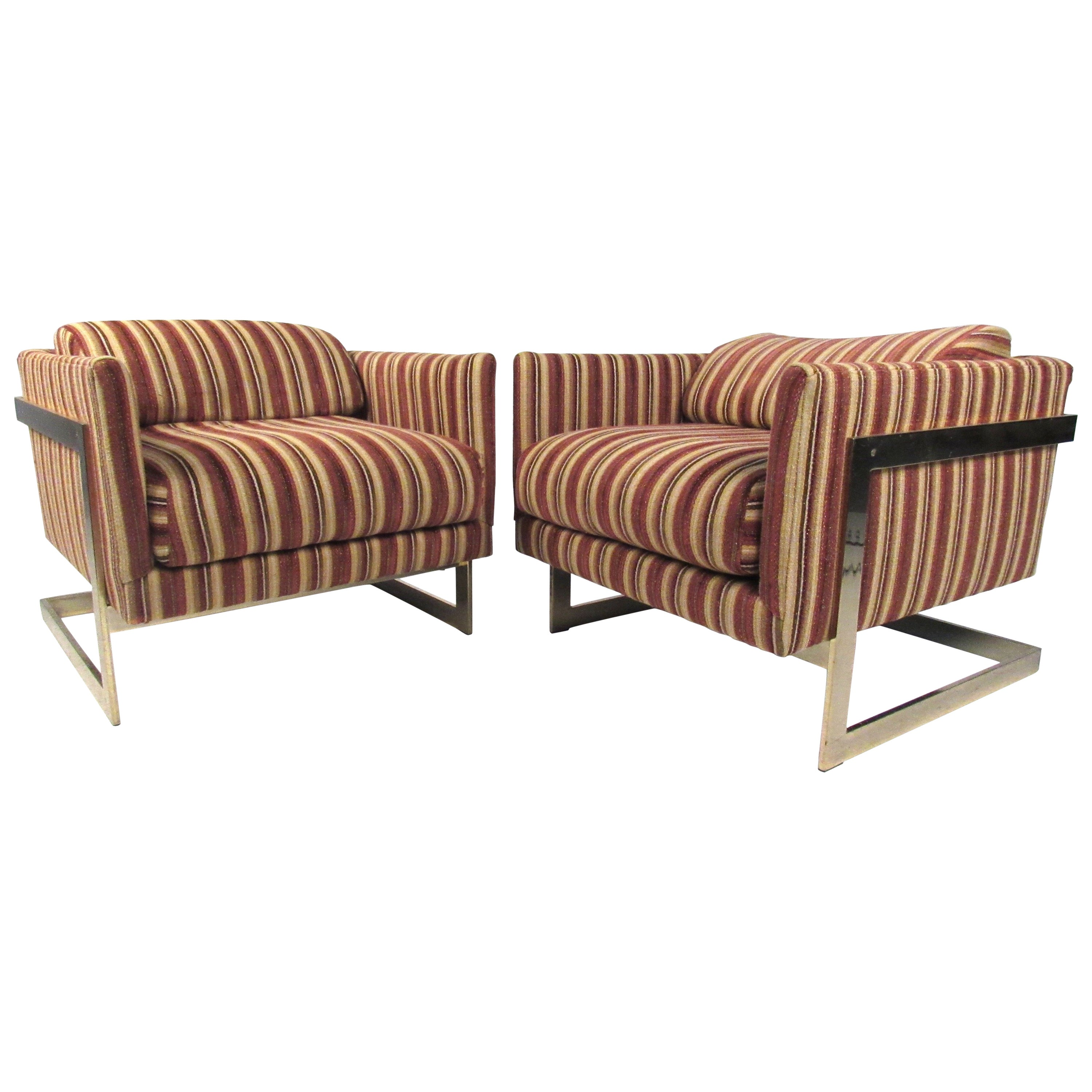 """Vintage """"Cube"""" Lounge Chairs by Milo Baughman for Thayer Coggin"""