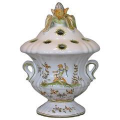 """Faience Flower Vase """"Bouquetiere Pique Fleurs""""  Moustiers-Monte-Sainte-Marie"""