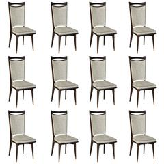 Set of 12 French Art Deco/Art Modern Dining Chairs Solid Mahogany, circa 1940