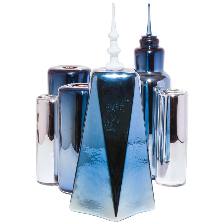 Skyscraper Series, FiDi Skyline, Set of six Modern Handmade Glass Objects