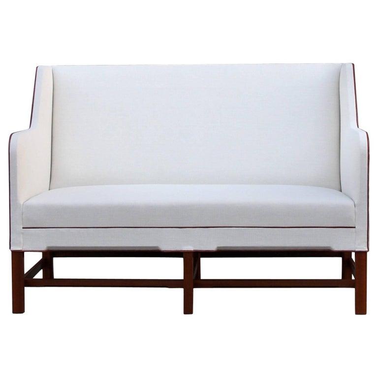 Kaare Klint Model 4118 Two-Seat Box Sofa by Rud Rasmussen For Sale