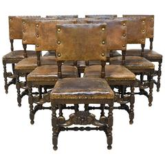 Set of 10 Italian 19th Century Renaissance Revival Chairs in Walnut with Leather