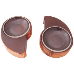 Pair of American Art Deco Bronzed Metal and Glass Cigar Ashtrays by Trophy Craft
