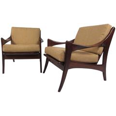 Pair Mid-Century Lounge Chairs With Slat Backs