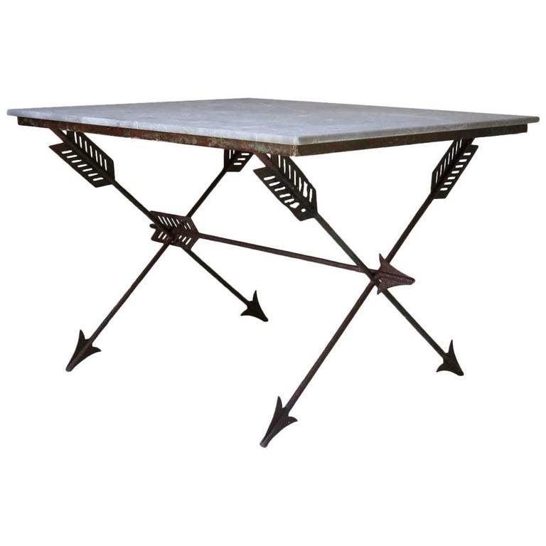 "Elegant French 1940s Iron and Marble ""Arrow"" Center Table For Sale"