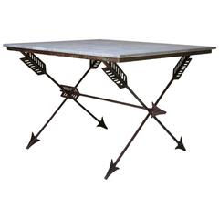 "Elegant French 1940s Iron and Marble ""Arrow"" Center Table"