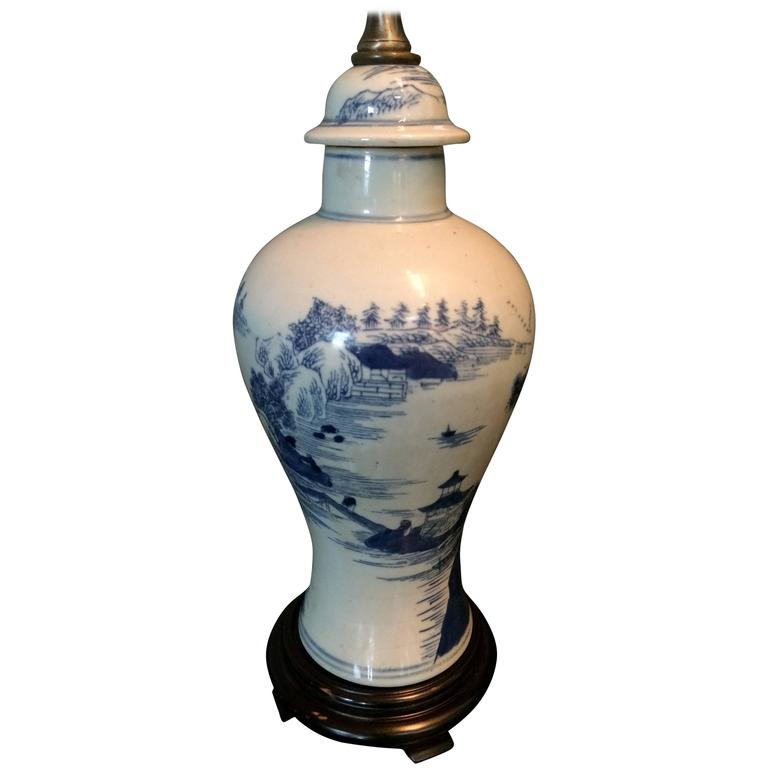 Charming Single Blue and White Chinese Porcelain Jar, Mounted as Lamp For Sale
