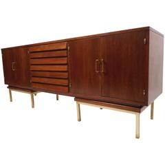 Mid-Century Modern Louvered Front Walnut Credenza by American of Martinsville