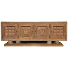 Monumental Cerused Oak Art Deco Buffet, Sideboard, France, 1930s