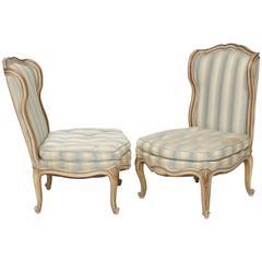 Pair of Vintage Boudoir Slipper Chair