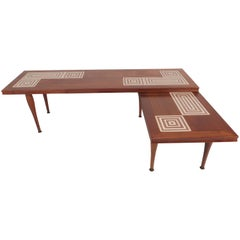 Mid-Century Modern Tile-Tip Pivot Coffee Table