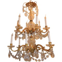 French Three-Tier 12-Arm Cut Crystal Dore Bronze Chandelier Floral Fixture