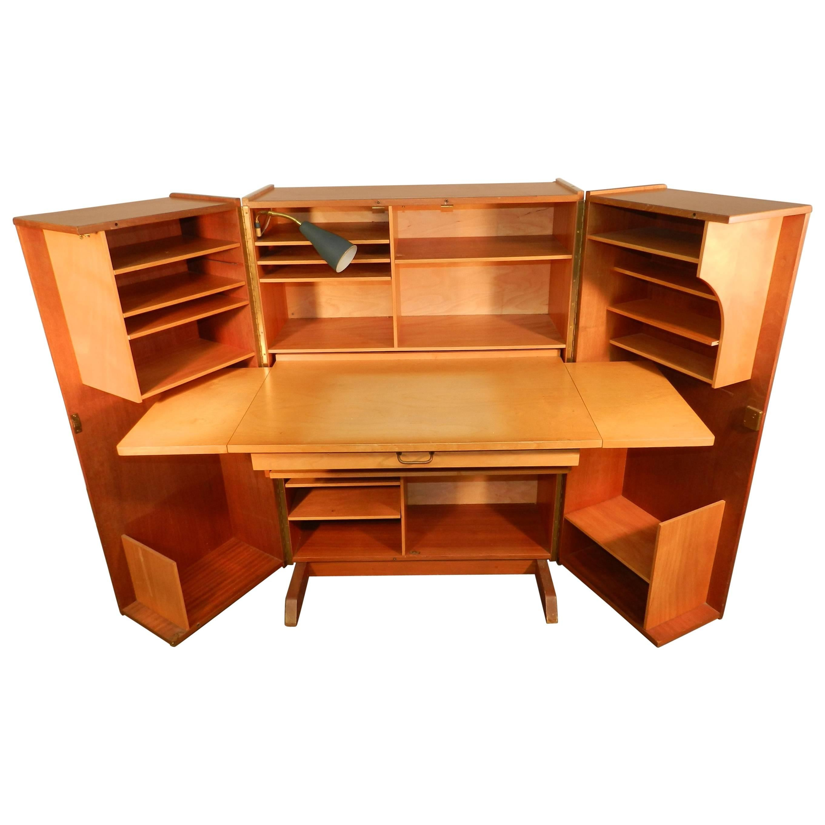 1950 Compact Home Office Desk In Mahogany And Blond Wood For Sale At 1stdibs