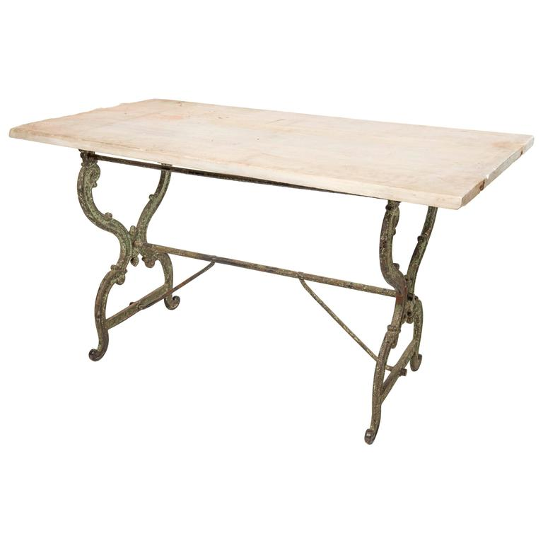 Console table with a cast iron base and original marble for Cast iron table base marble top