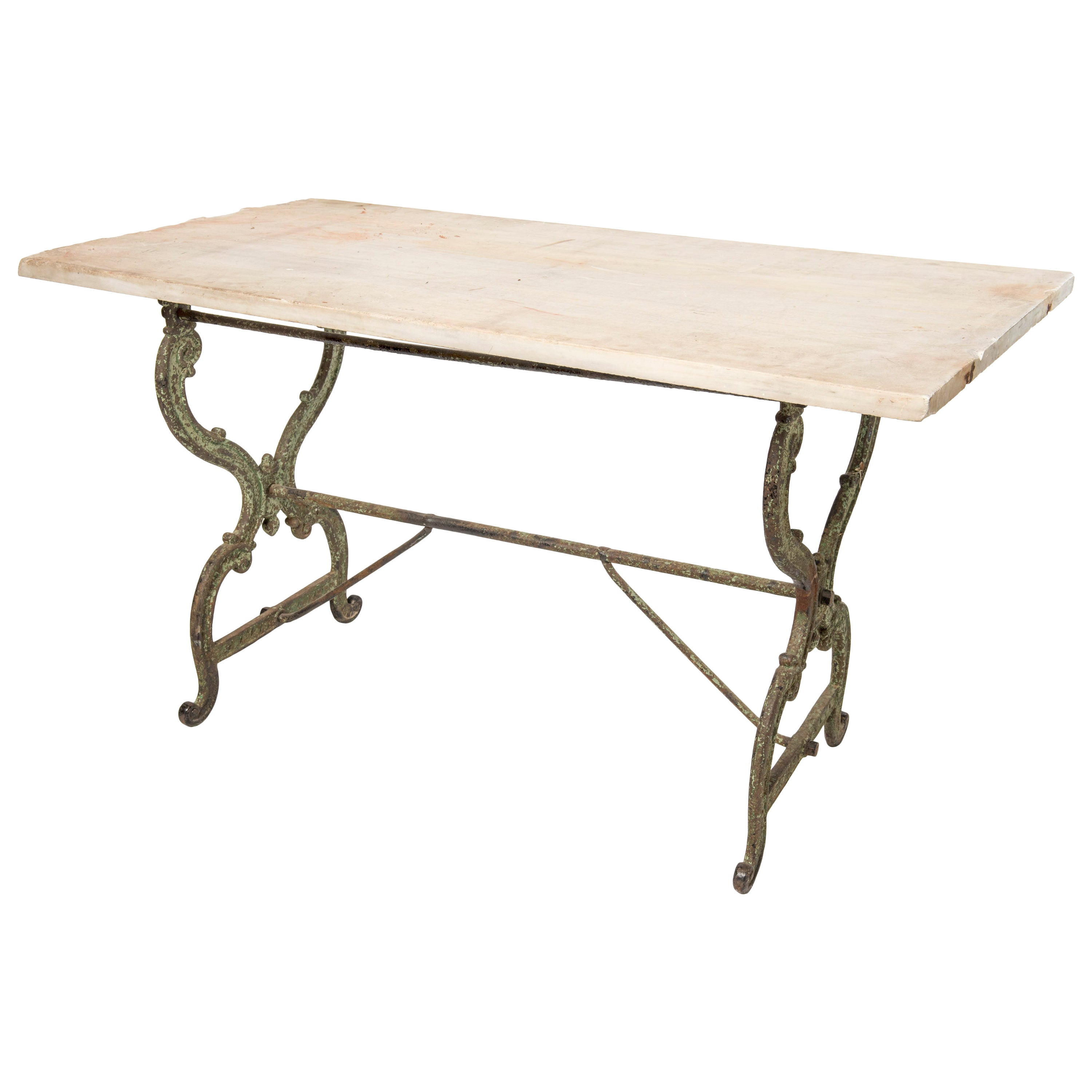 Console Table with a Cast Iron Base and Original Marble Top