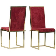 Pair of Italian mid-century modern brass chairs