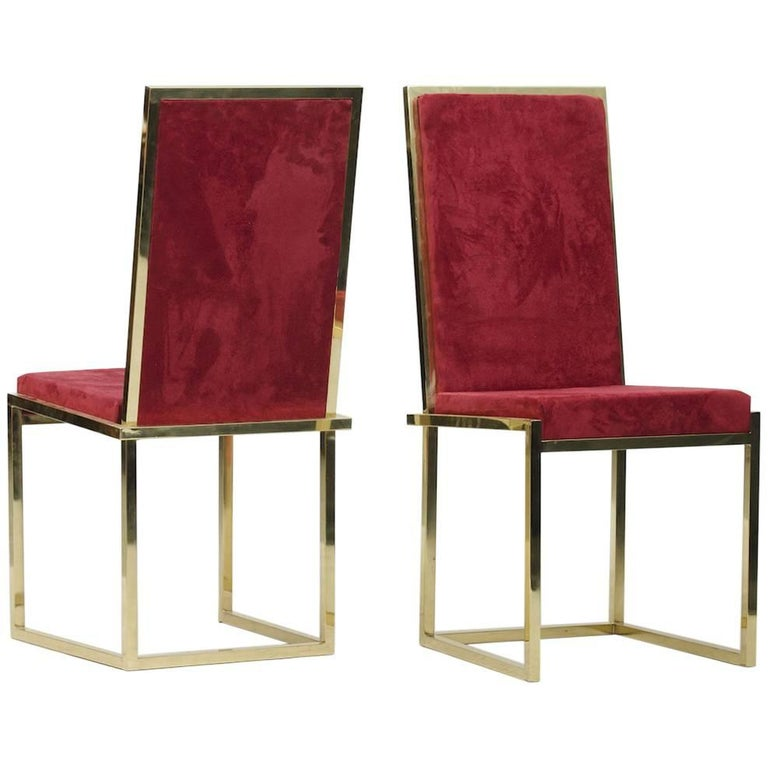 Pair of Italian mid-century modern brass chairs For Sale