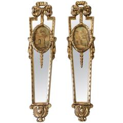 Pair of Glamorous Italian Silvergilt and Mirrored Panel Sconces