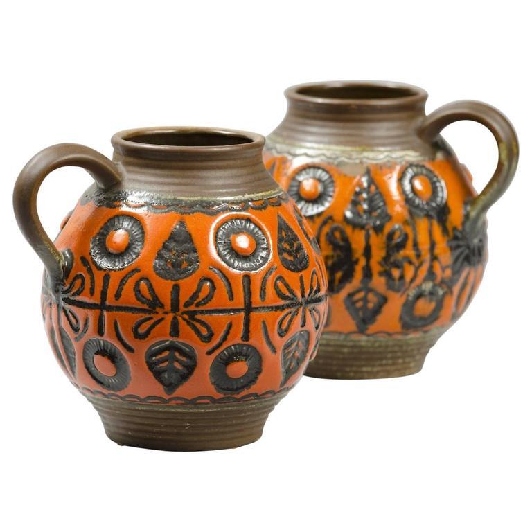 Pair of Glazed Ceramic Jugs